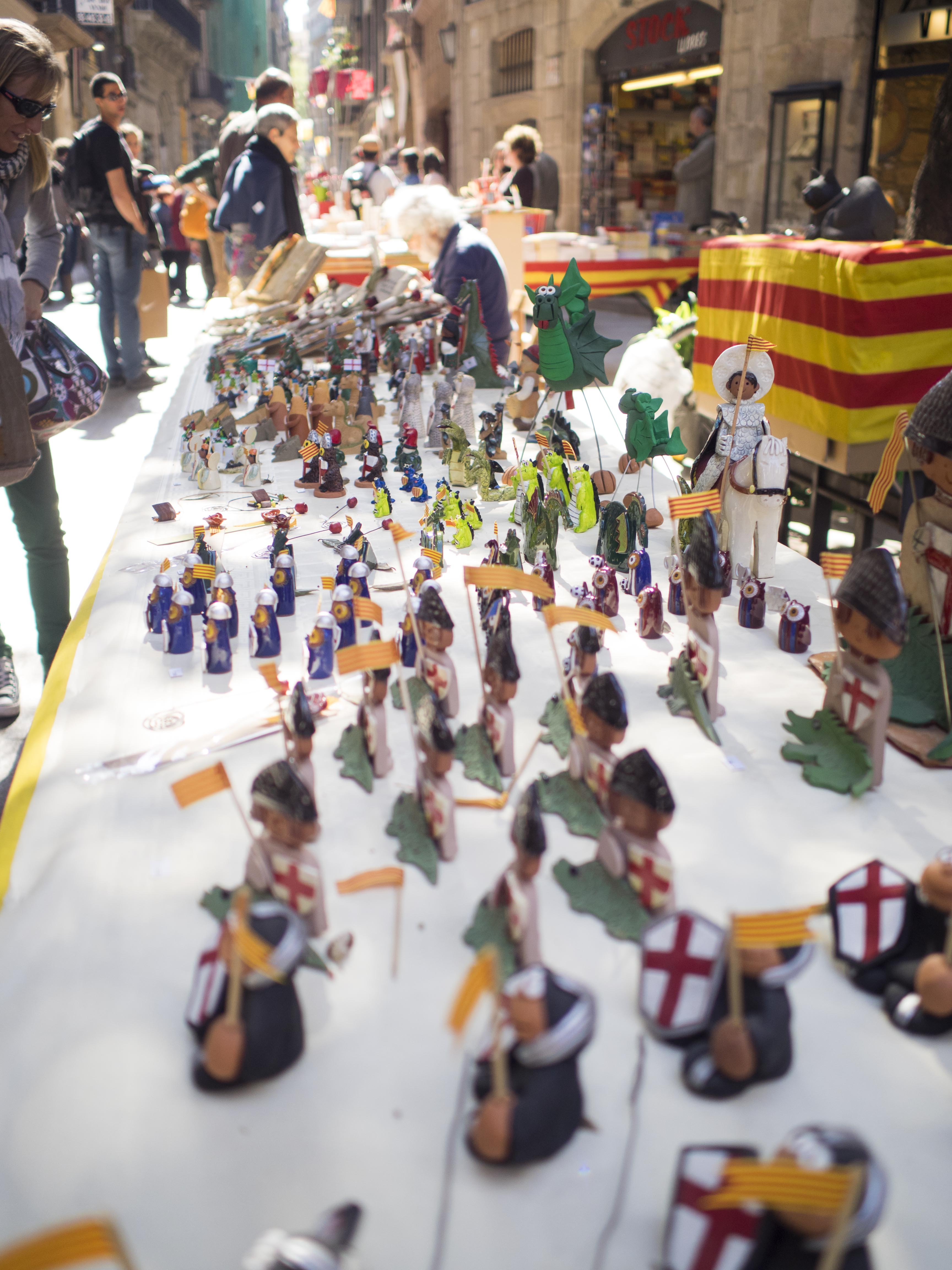 A table of figurines on St. Jordi's Day